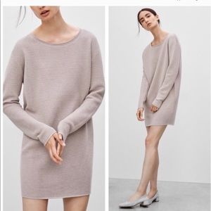 Wilfred Silk & Cashmere Ribbed Sweater Dress